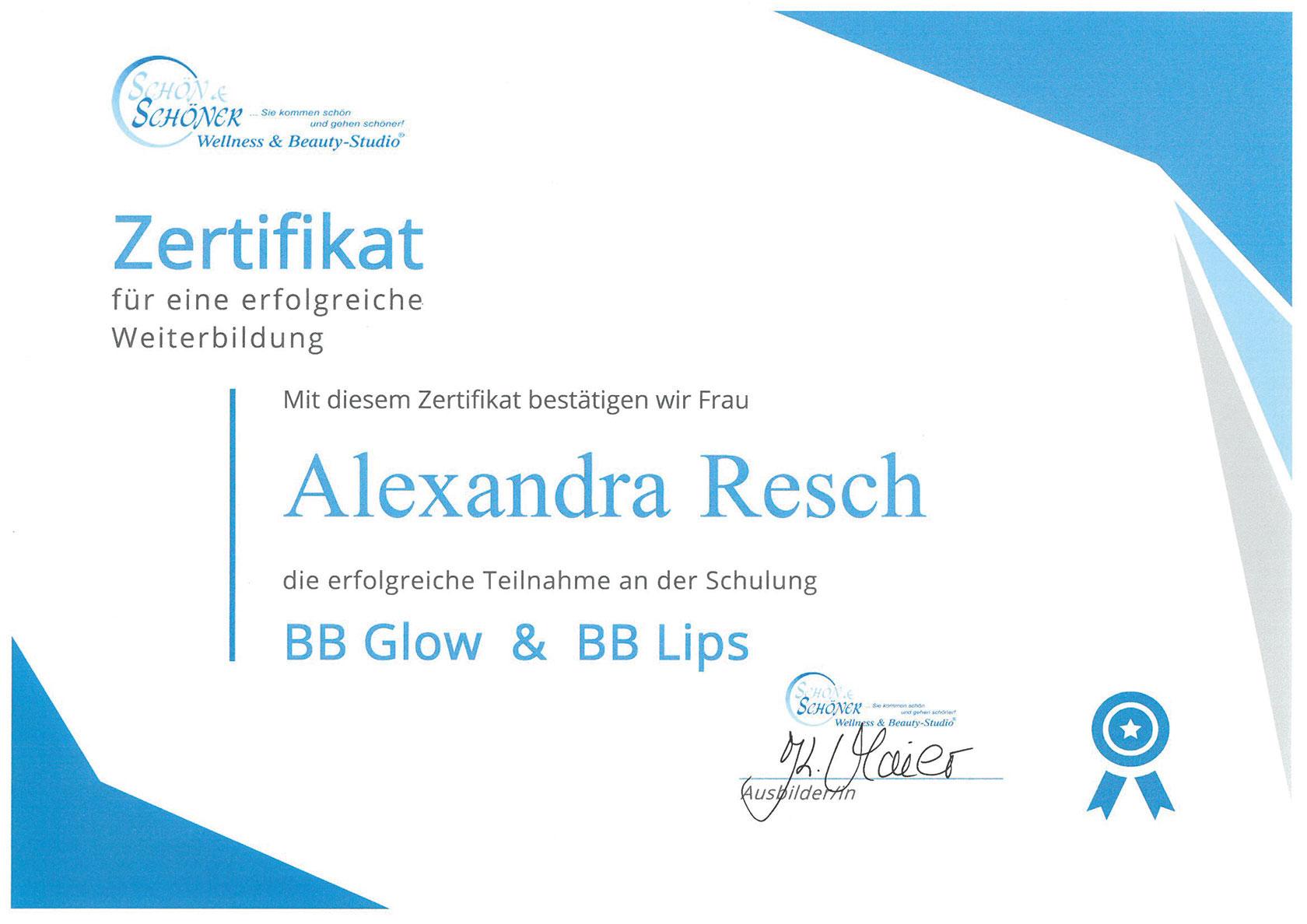 Pure Ästhetik Winnenden – Zertifikat –BB Glow & BB Lips