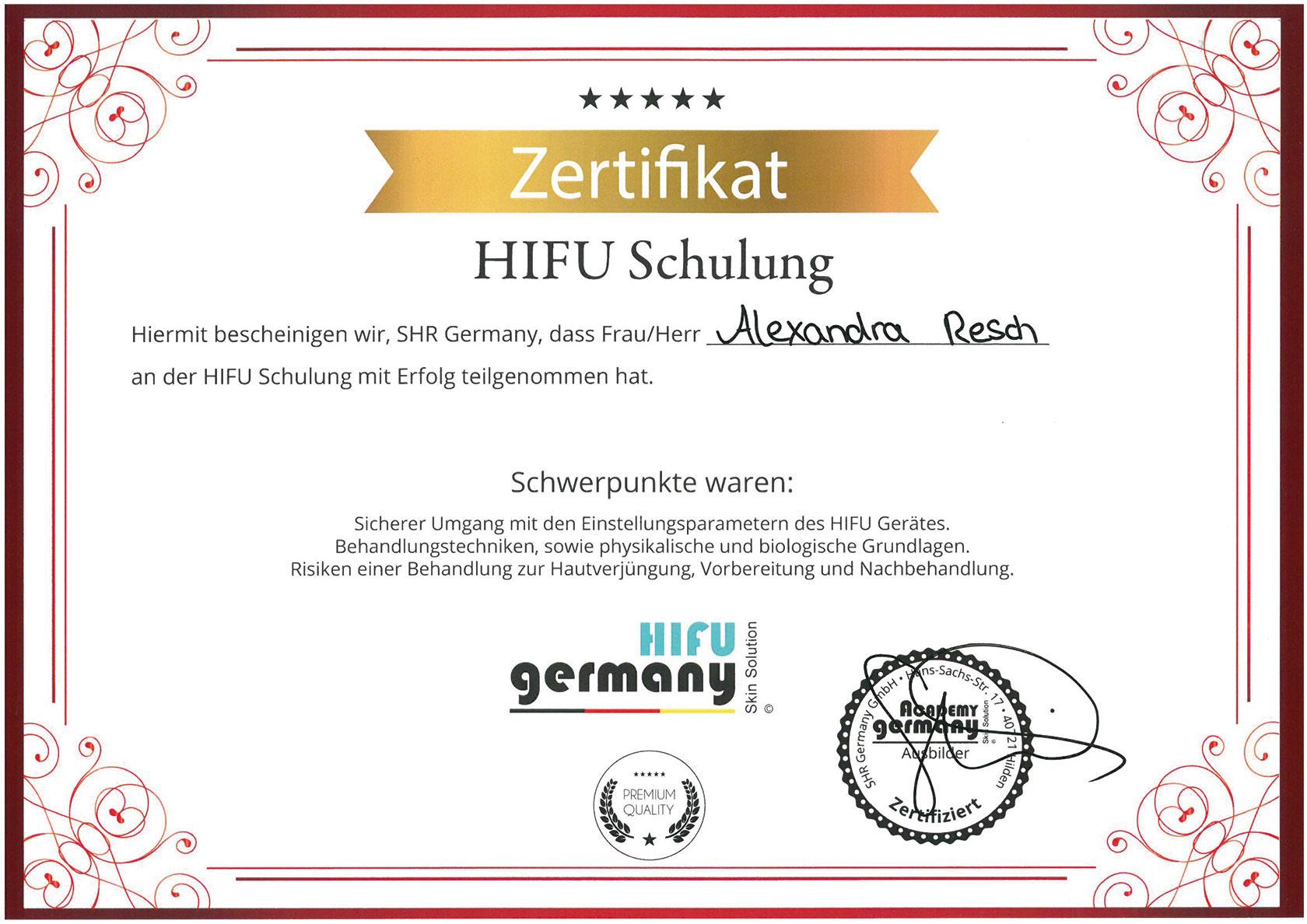 Pure Ästhetik Winnenden – Zertifikat –HIFU Schulung
