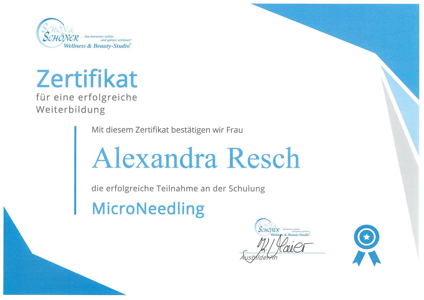 Pure Ästhetik Winnenden – Zertifikat –MicroNeedling
