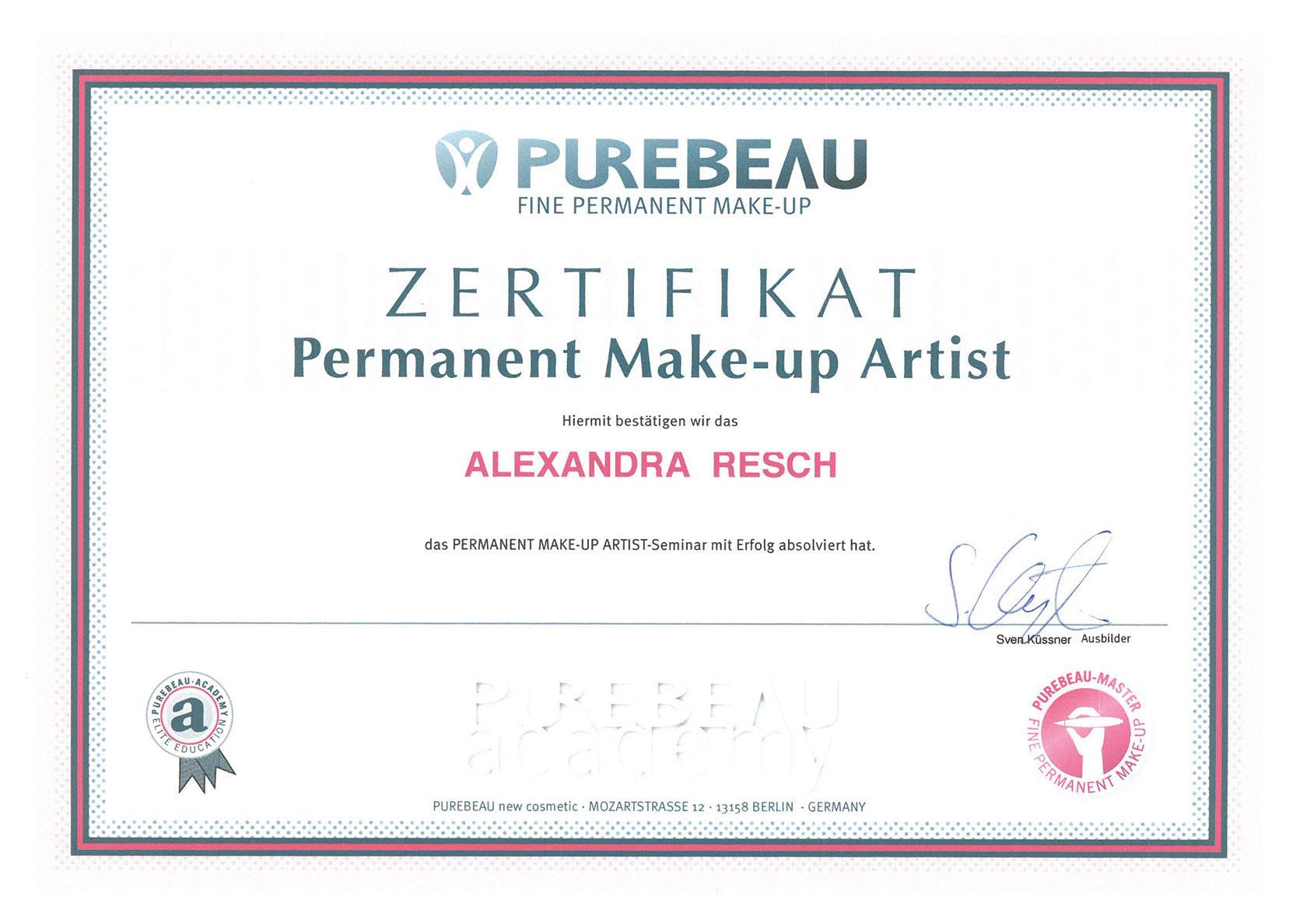 Pure Ästhetik Winnenden – Zertifikat –Permanent Make-up Artist
